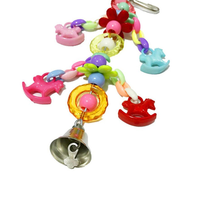 Colorful Acrylic Leash Pet Parrot Swing Bite Toy