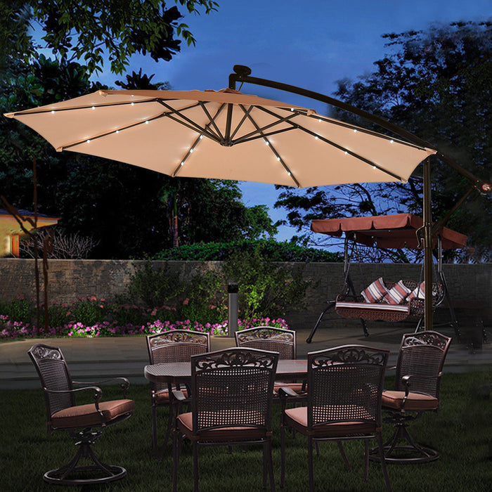 Costway 10' Hanging Solar LED Umbrella Patio Sun Shade LootDash