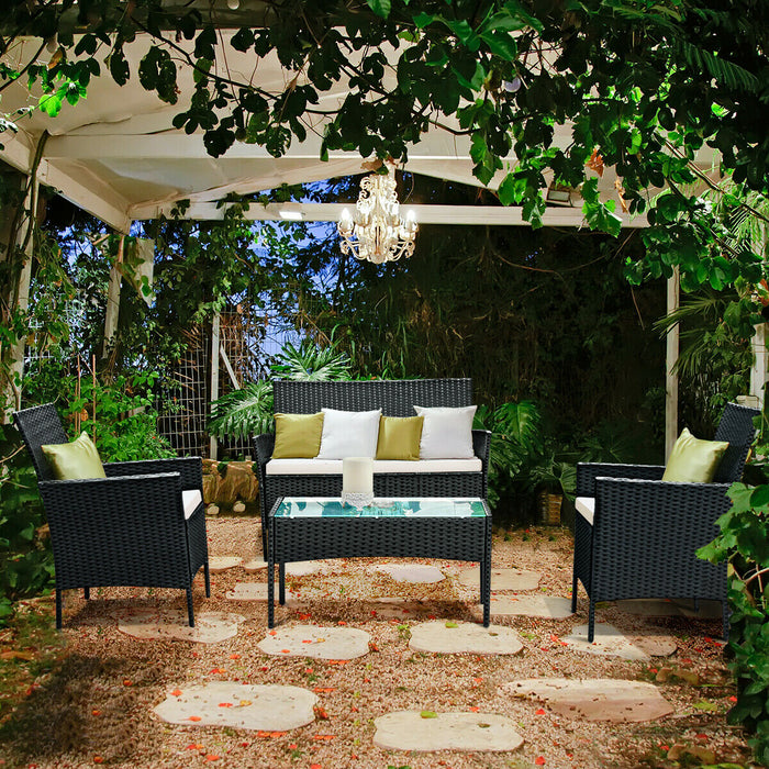 Costway 4 PCS Patio Rattan Wicker Furniture Set Loveseat With Cushions LootDash