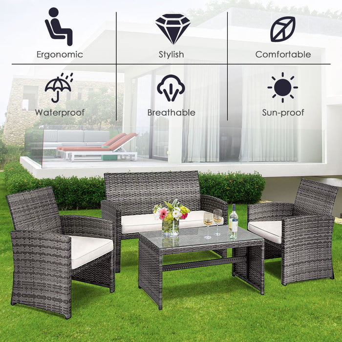 Costway 4PCS Patio Rattan Furniture Set Conversation Glass Table Top And Sofa LootDash