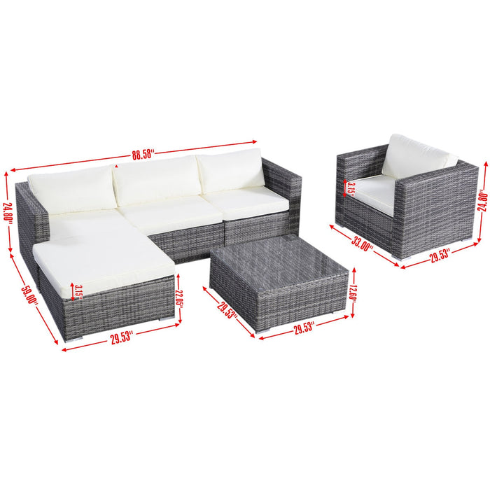6PC Furniture Set Patio Sofa PE Gray Rattan Couch 2 Set Cushion Covers Loot Dash