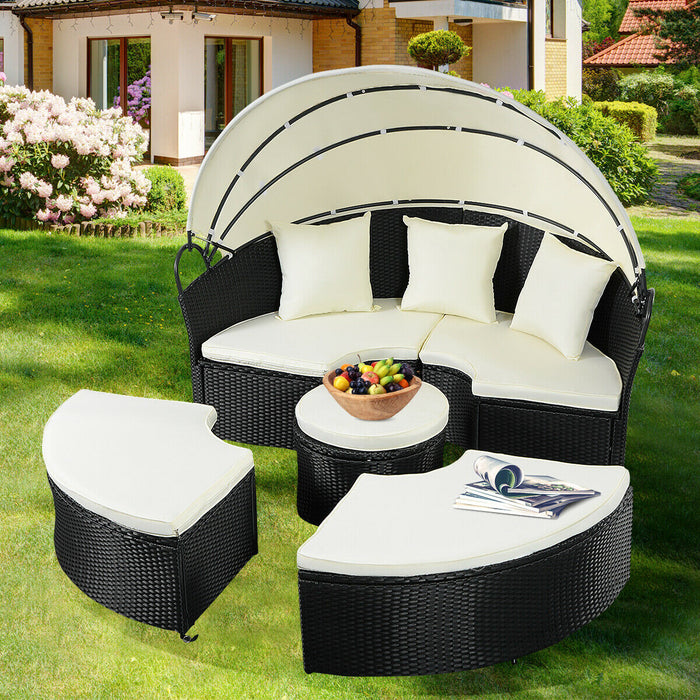 Costway Daybed Patio Sofa Furniture Round Retractable Canopy LootDash