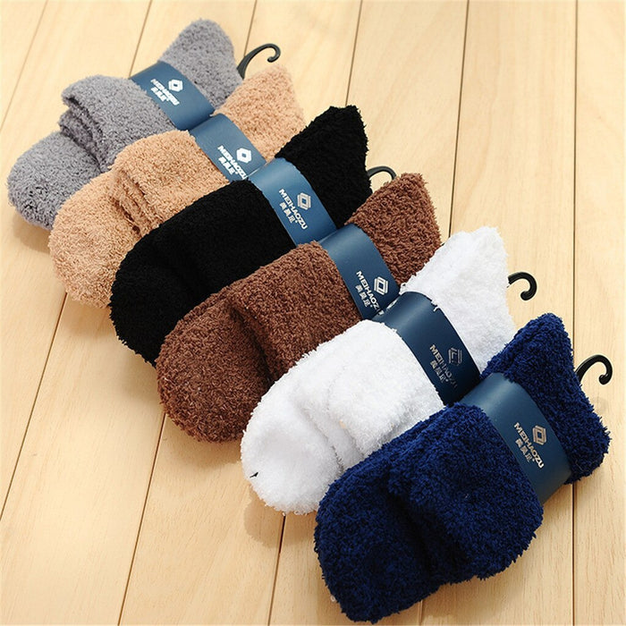 Cotton Socks Cotton Ankle Socks Men Casual Home Men Boy Soft Bed Floor Socks Fluffy Warm Winter Pure Color