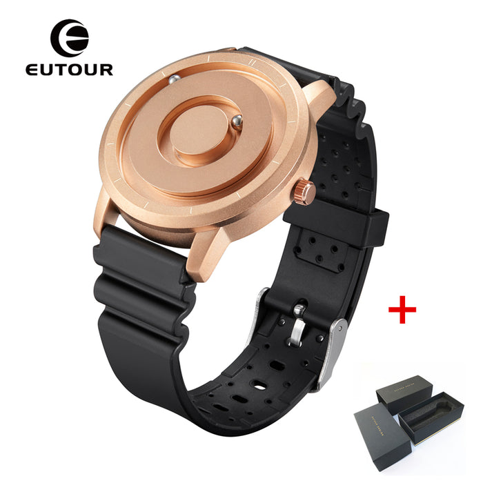 EUTOUR New Innovative Blue Gold Magnetic Metal Multi functional Watch