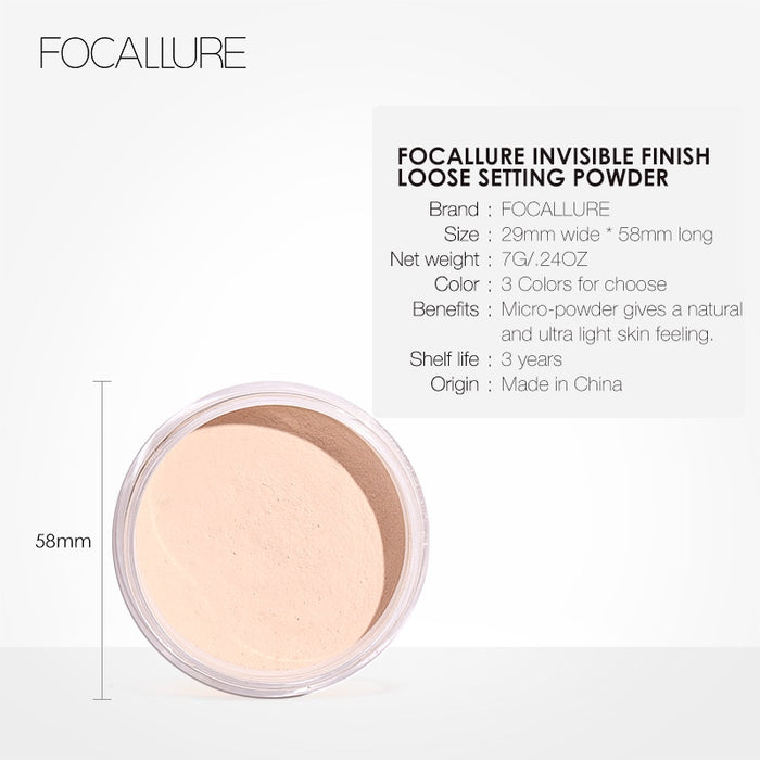 FOCALLURE New Brand Makeup Powder 3 Colors Loose Powder Face Makeup Waterproof Loose Powder Skin Finish Powder on LootDash