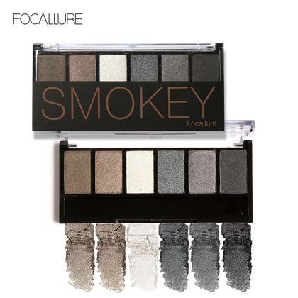 FOCALLURE New Pro 6 Colors Eyeshadow Makeup Set Waterproof Smudge Proof Eye Shadow Powder Palette For Women