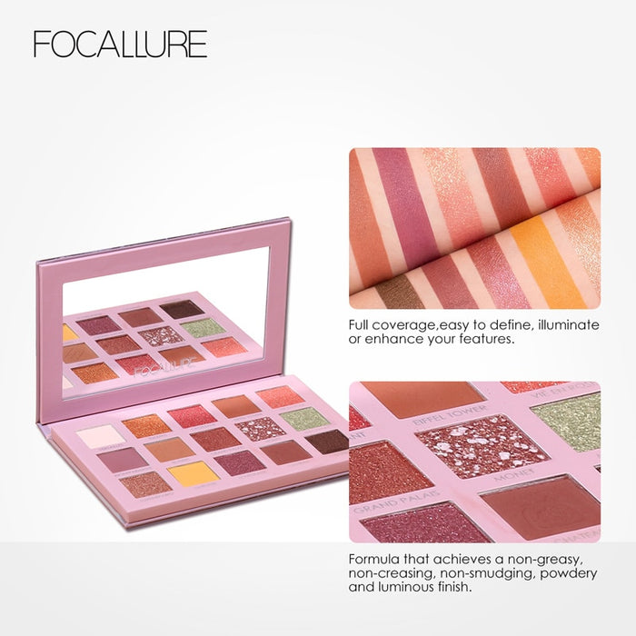 FOCALLURE Professional Eyeshadow Palette Glitter Pigmented Smooth Matte Shades Travel Makeup Eye Shadow