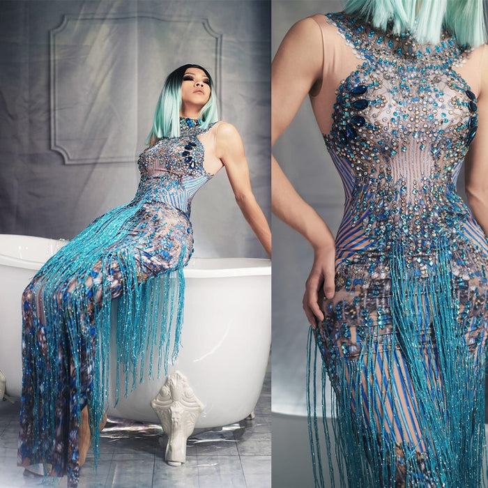Fashion Crystals Rhinestone Party Long Dress Women Sleeveless Tassel Club Dress Blue Sexy Jazz Singer Dancer Stage Costumes