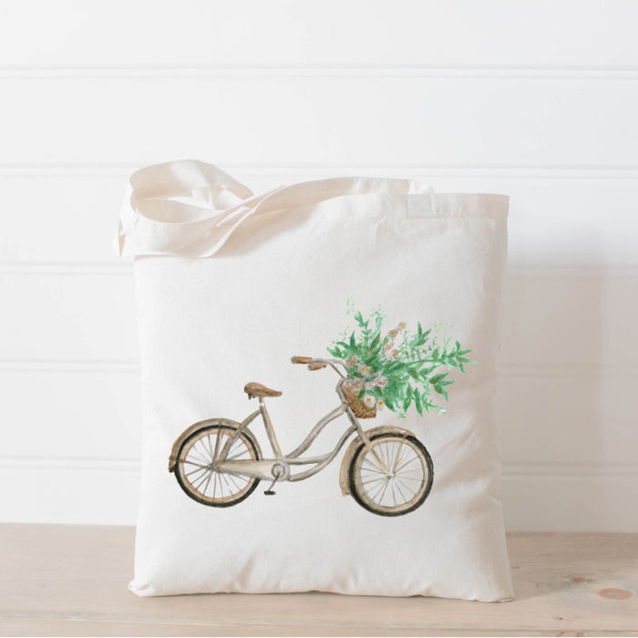 Floral Bike Watercolor Tote Bag