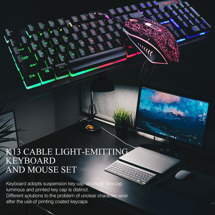 Gaming Keyboard and Mouse Set k13 Backlight Usb Ergonomic for PC Laptop Gamer Games Mouses and Keyboards Kit on LootDash