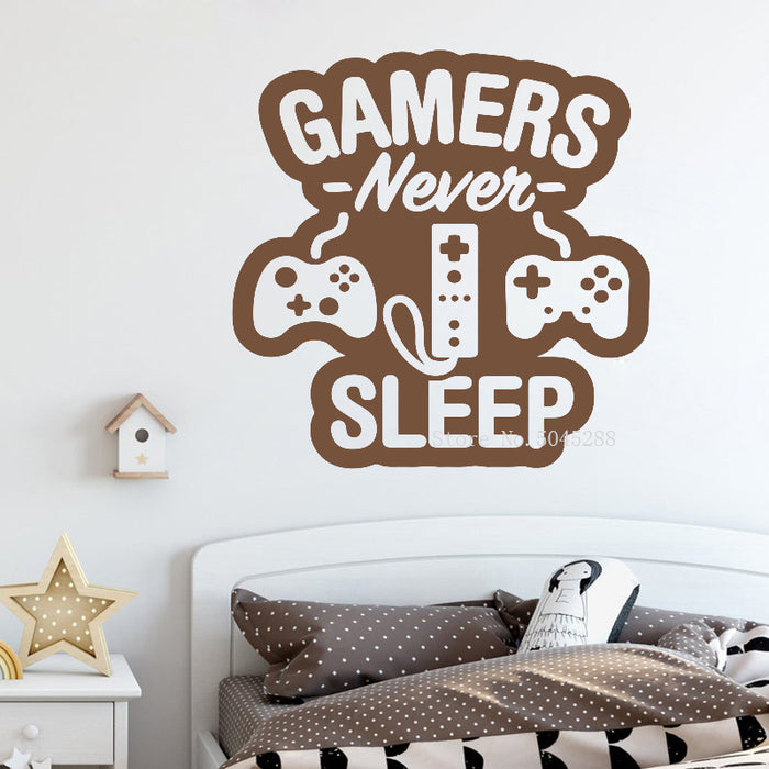 Gaming Vinyl Wall Decal Gamers Never Sleep Quote Retro Gamer Sticker Gift Decor Playroom Wall