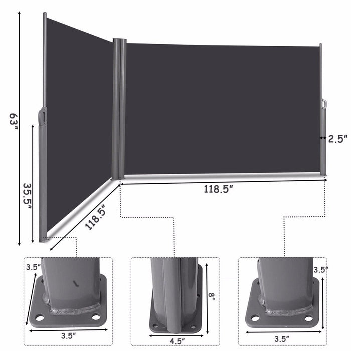 "Goplus 237""x 63"" H Patio Retractable Double Folding Side Awning Screen DividerLootDash"