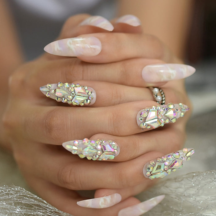 Gorgeous Luxury Press On Nails Extra Long Light Marble Colorful Crystal Faux Ongles with Large Rhistones AB Perfect Party on LootDash
