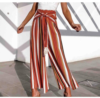 Cotton Pants For Women Striped Wide Leg Pants With