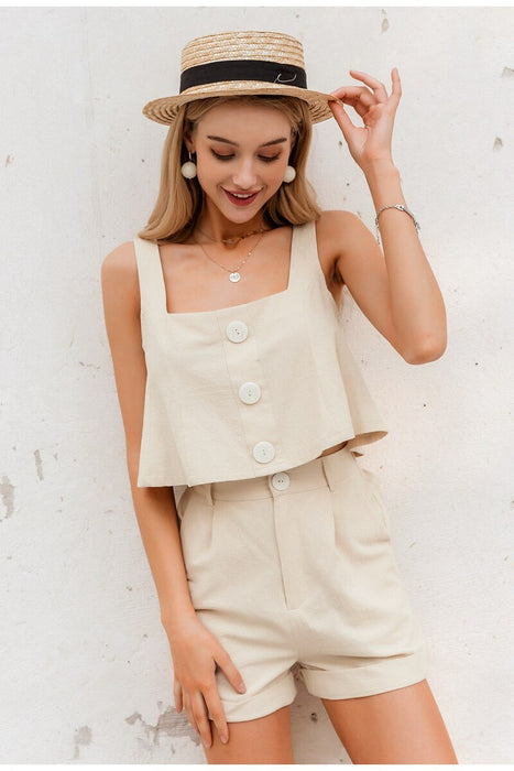 Women Two-piece Playsuits Sleeveless Straps Buttons  Cotton Rompers