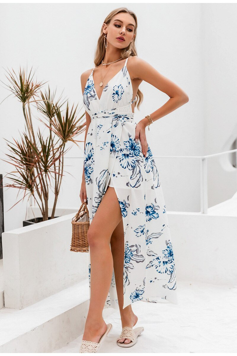 Beach V-neck Floral Spaghetti Straps High Waist