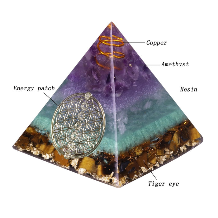Healing Crystal Gold Wire Orgone Pyramid Stone Figurine Energy Generator For Meditation Reiki Balancing