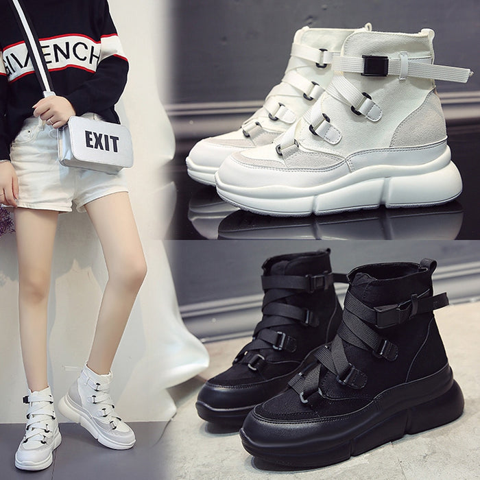 High Top Women chunky sneakers Fashion white Increase High platform ladies shoes Cool Breathable Shock Absorption Footwear #T on LootDash