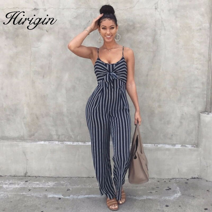 Jumpsuit Stripped Straps Romper Sleeveless Long LootDash