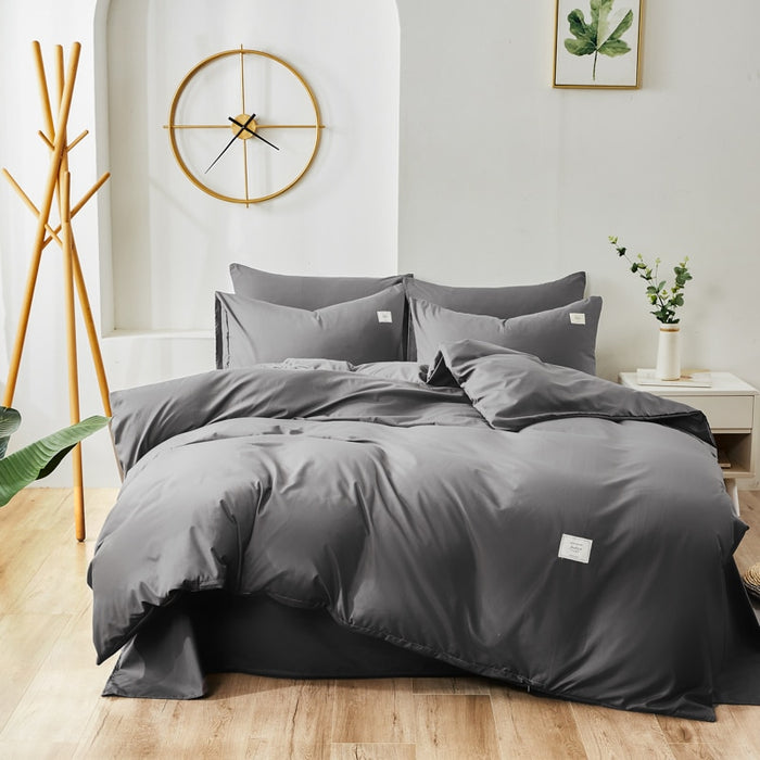 Home Textile Bedding set Solid color duvet cover sets quilt covers pillowcases European size king queen gray blue pink green|Bedding Sets|Home & Garden