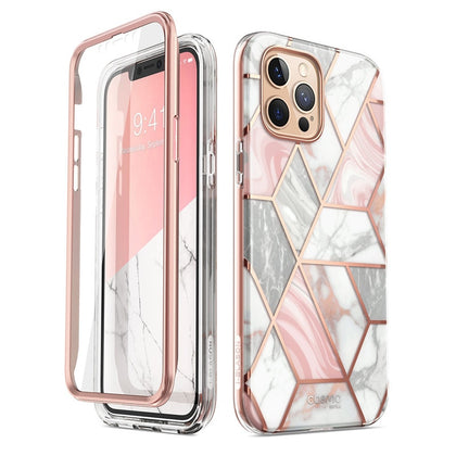 iPhone 12 Pro Max Case 6.7 inch Cosmo Full Body Glitter Marble Bumper Case with Built in Screen Protector