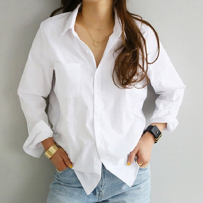 Ladies Vintage Loose Womens Blouse Casual Office Workwear- Lootdash