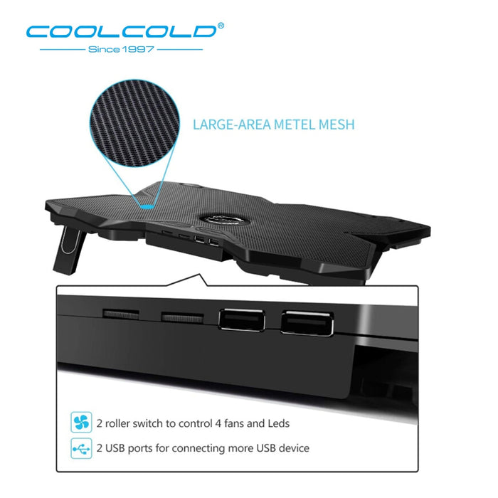 Laptop Cooling Pad Notebook Gaming Cooler Stand with Four Fan and 2 USB Ports for 14-17inch Laptop