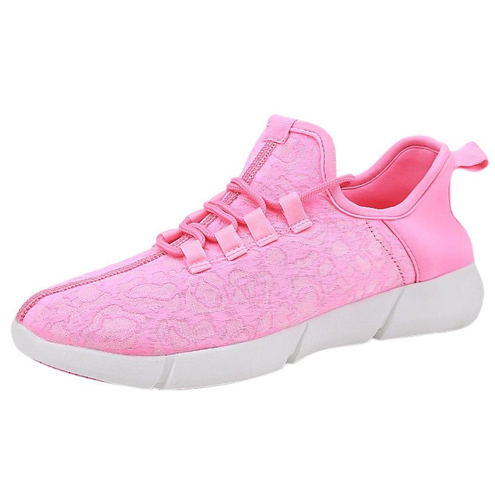 Led Fiber Optic Shoes men Women Breathable Running Shoes Comfortable Outdoor Sports Jogging Walking Female Sneakers on LootDash