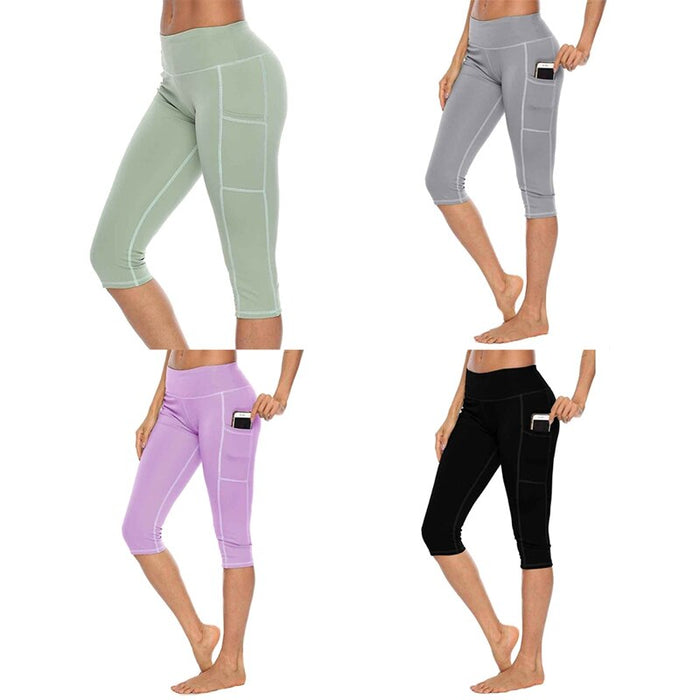 Leggings Women Slim Fit  Sports Solid Color Side Pockets Quick Dry Fitness Pants on LootDash