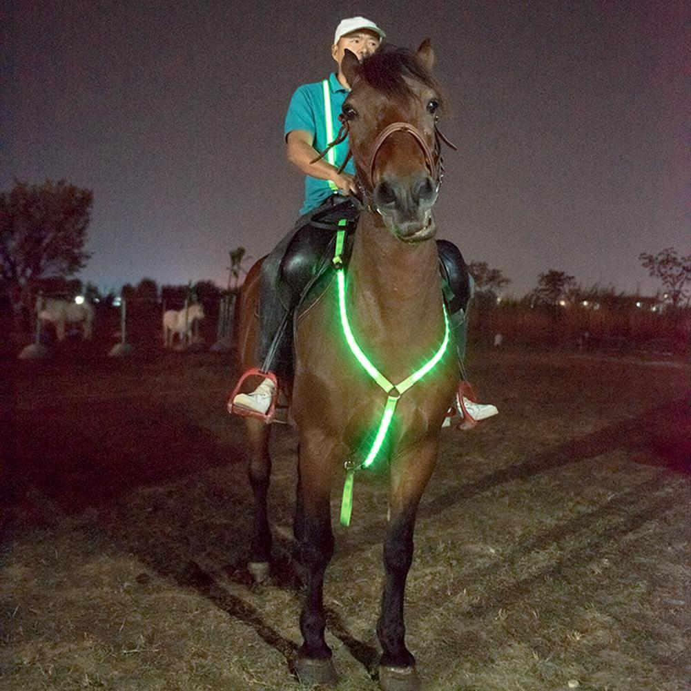 Luminous Horse Breastplate Collar LED Collar Adjustable Sturdy Comfortable Rechargeable Horse Tack Visibility Equestrian Safety on LootDash