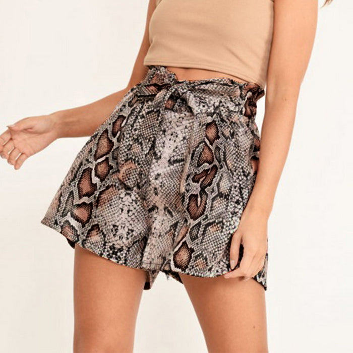 MoneRffi Snake Print High Waist Shorts Women 2020 Summer Paper Bag Sexy Fashion Lace Up Ruffle Mini Ladies Casual Shorts Skirts on LootDash