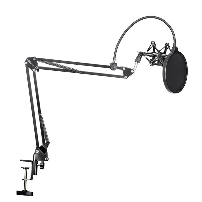 Neewer NB 35 Microphone Suspension Arm Stand Clip Holder and Table Mounting Clamp Pop Filter Windscreen Mask Shock Mount Kit