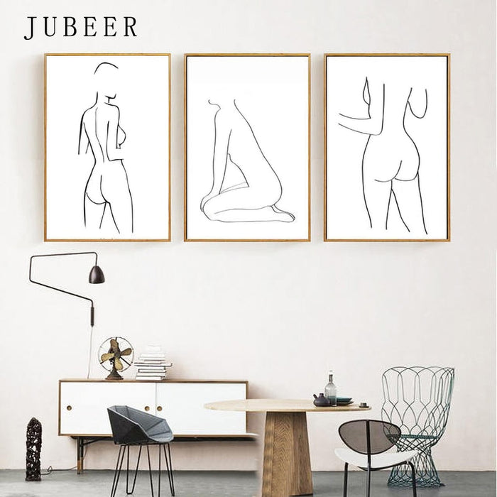 Nordic Body Art Woman Line Posters and Prints Bedroom Wall Art Prints Sketch Poster Female Form Art Canvas Painting Home Decor