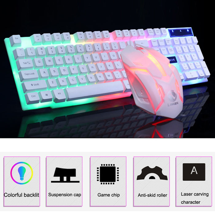 OMESHIN Colorful LED backlight USB cable PC rainbow game keyboard mouse mechanical feel game keyboard waterproof and dustproof9 on LootDash