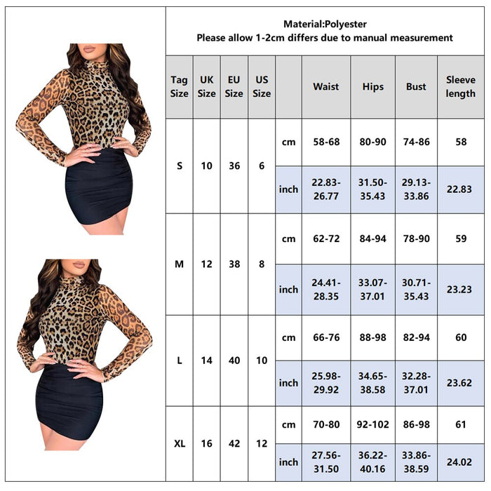 Patchwork Dresses Woman Long Sleeve Turtleneck Leopard Dress Girls 2020 New Sexy Slim Fit Bodycon Dress Women Spring vestido D30 on LootDash