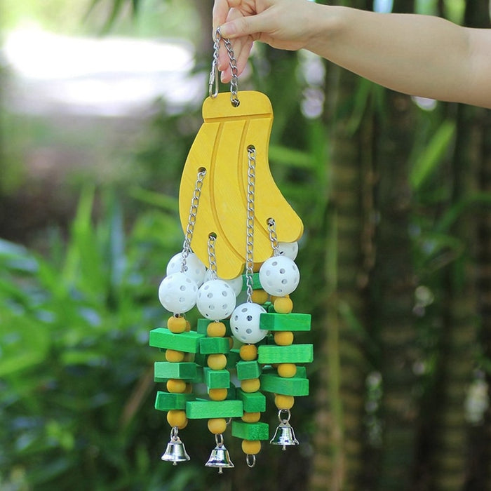 Large Parrot Toy Pet Bird Hanging Exercise Funny Toy for Cage Parrot Colorful Fruit String Toy with Bell New|Bird Toys|