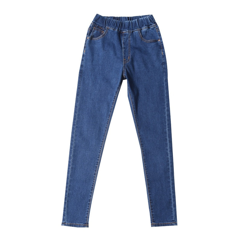 Women Jeans Elastic Waist Stretch Skinny Casual Jeans - Loot Dash