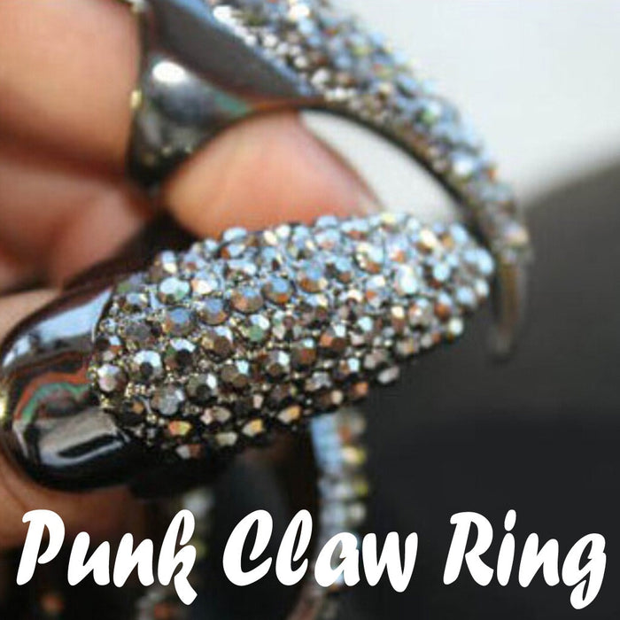 Punk Style Claw Ring Gothic Rhinestone Jewelry False Nail Finger Ring Knuckle Bend Fingertip Acrylic Full Nail Tips Fake Nails on LootDash
