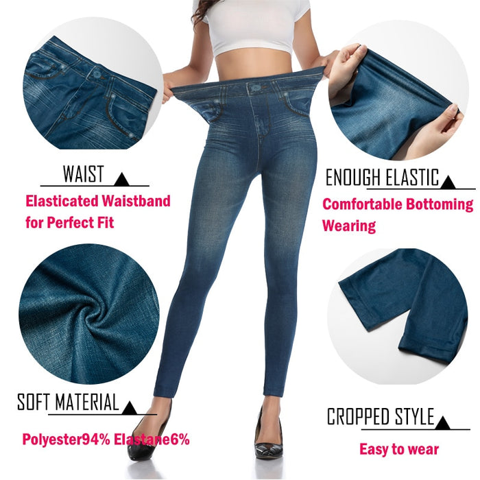 Push Up Seamless High Waist Warm Jeans Leggings Women Autumn and Winter Elastic Jeggings Denim Pants Leggins Mujer Dropship on LootDash