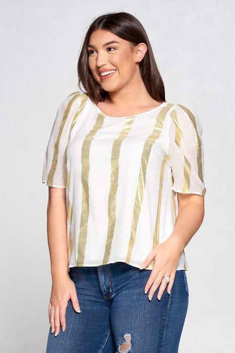 METALLIC STRIPED TOP WITH PUFF SLEEVE