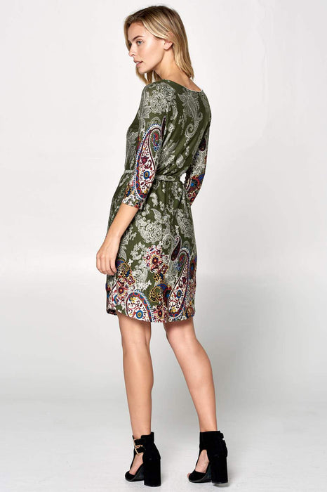 PRINT LONG SLEEVE DRESS WITH WAIST TIE