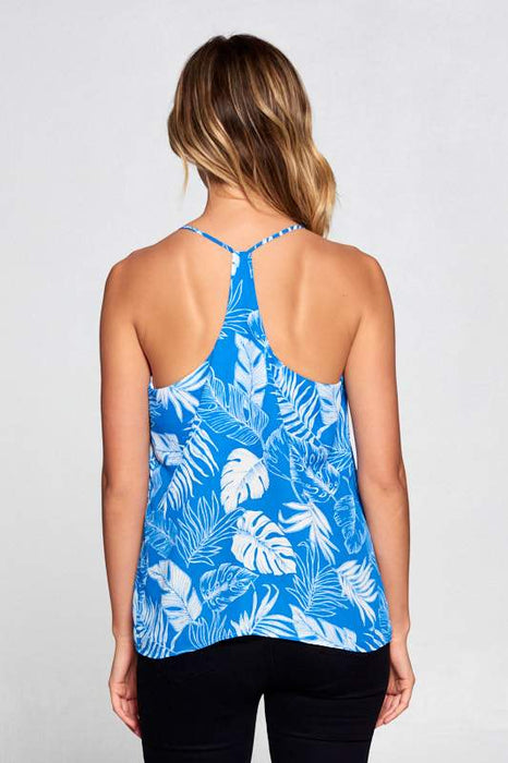 LEAF PRINT RACERBACK TOP