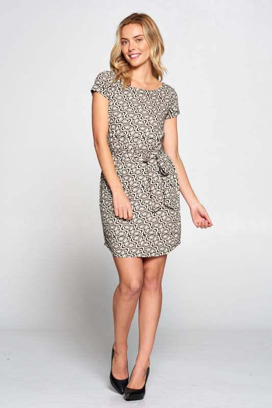 RETRO PRINT DRESS WITH WAIST TIE