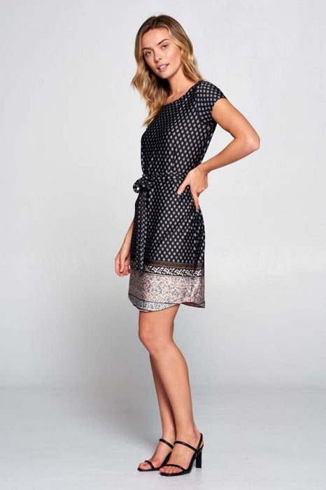 BOHO BORDER PRINT KNIT DRESS WITH WAIST TIE