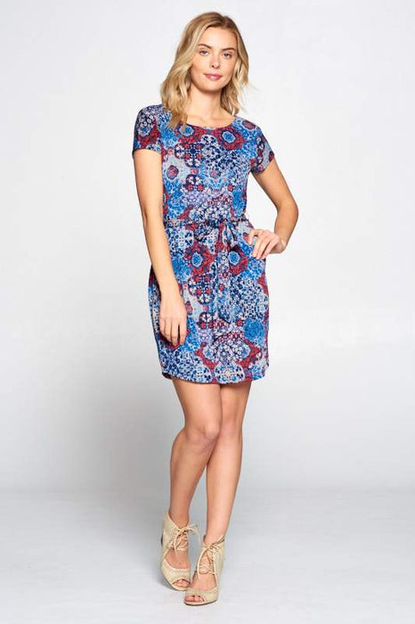 NAVY RED PRINT DRESS WITH WAIST TIE