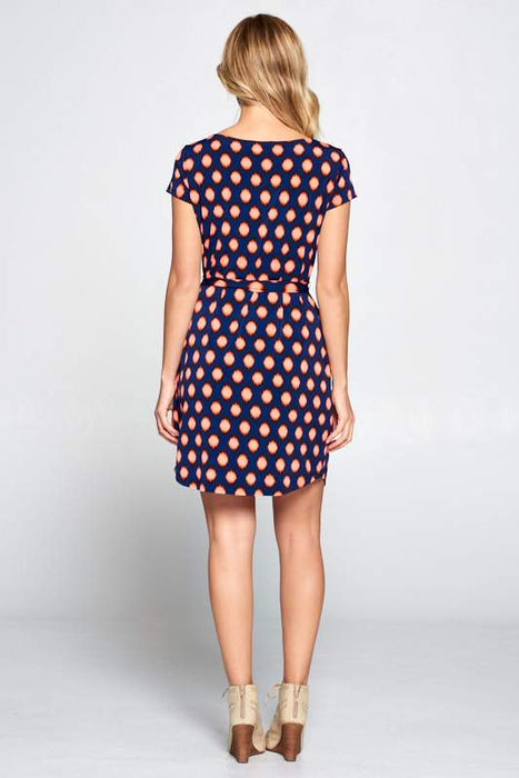 NAVY ORANGE ABSTRACT DRESS WITH WAIST TIE