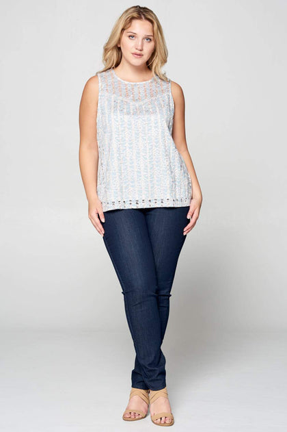 LACE TANK TOP WITH LINING