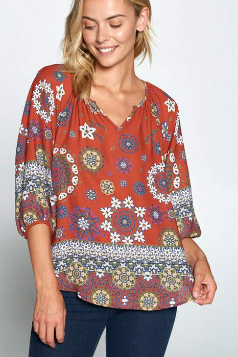 BOHO PRINT V-NECK 3/4 SLEEVE TOP
