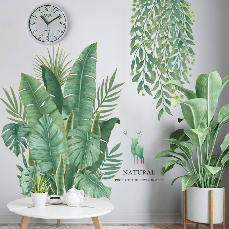 Removable Nordic style Banana Leaf Wall Stickers for Living room Bedroom Dining room Kitchen Kids room |Wall Decals|