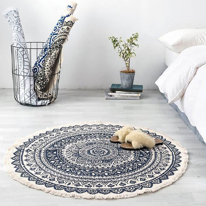 Retro Boho Round Carpet Bedroom Boho Style Tassel Cotton Rug Hand Woven National Classic Tapestry Sofa Cushion Tatami Floor Mats on LootDash